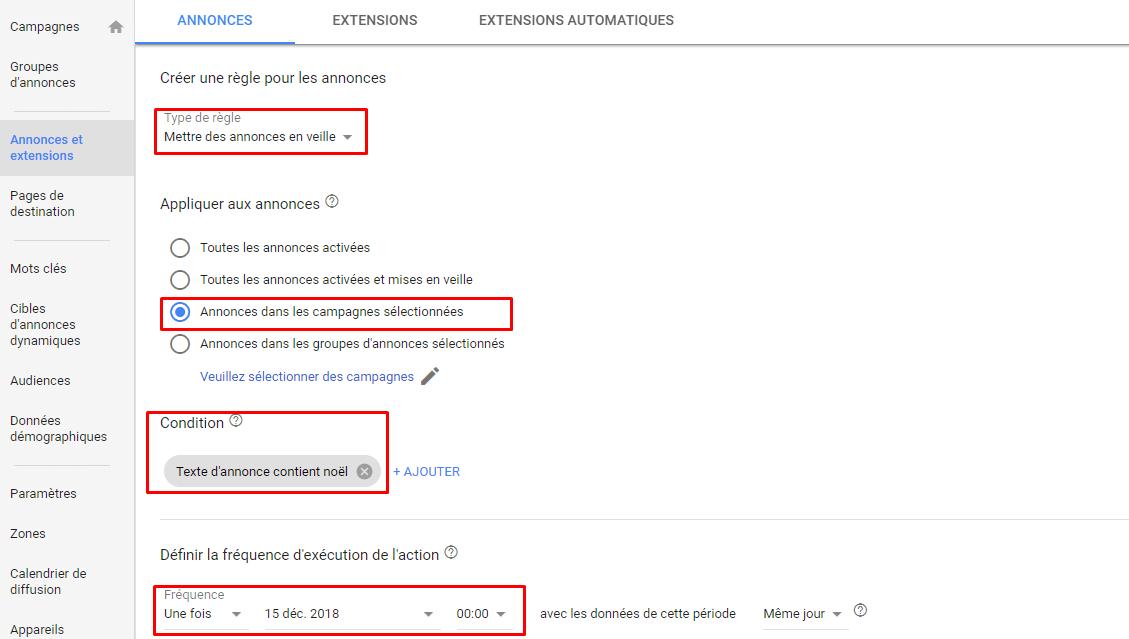 google adwords règles automatiques